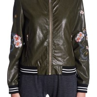 ELAN | Embroidered Faux Leather Bomber | Nordstrom Rack