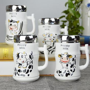 Cows Office Ceramic Cups Creative Cups with Capped Mug Cups Coffee Cups Cute Couple Water Cups