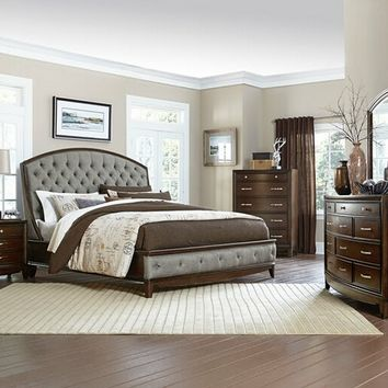 5 pc Yorklyn collection classic cherry finish wood tufted headboard queen bedroom set