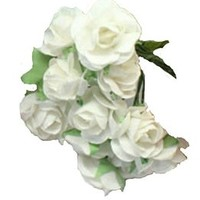 Artificial Mulberry Flower Bouquet White - 2 Bunches (24 Pc)