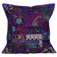Gorgeous Purple Vintage Patchwork Embroidery Cushion Cover on RoyalFurnish.com