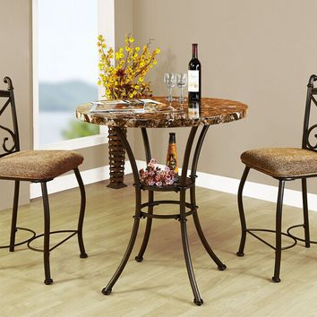 Acme 70560 3 pc Kleef brown faux marble top dark bronze metal counter height dining table set