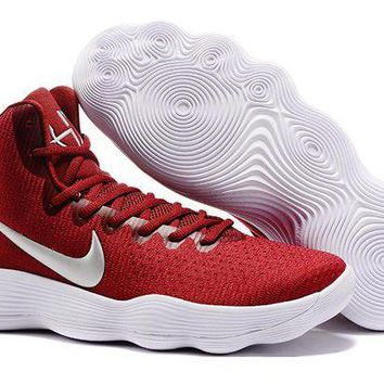 Nike Mens Hyperdunk 2017 Elite Wine Red/Silver Basketball Shoes