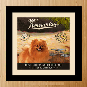Pomeranian Dog Art Poster - Coffee Shop - Kitchen, Dinning Room, Unique Pet Art - D01-061-10X10