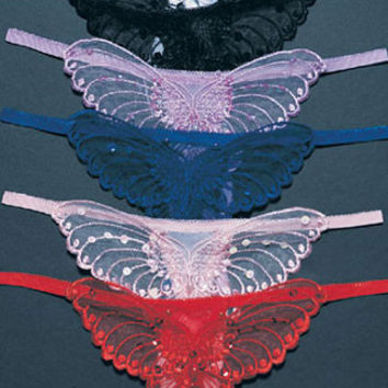 Sheer Butterfly Crotchless G-String
