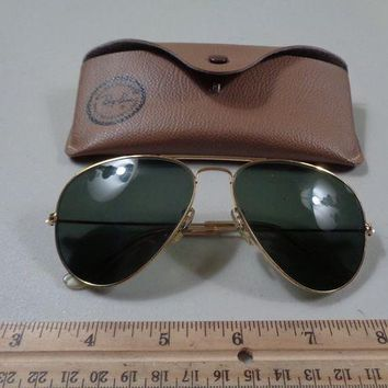 Gotopfashion Vintage Estate Bausch Lomb B&L Ray Ban Gold Frame Aviator Sunglasses with Case
