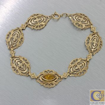 1880s Antique Victorian Filigree 10k Yellow Gold Marquise Citrine Mesh Bracelet