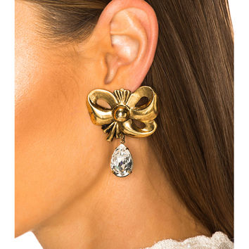 Rodarte Bow Earrings with Teardrop Swarovski Detail in Antique Gold | FWRD