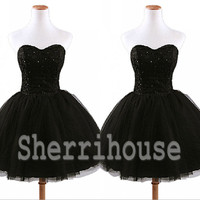 Beads Sweetheart Strapless Ball Gown Short bridesmaid dresses, Tulle Dress, Cocktail Dress ,Chiffon Prom Dress