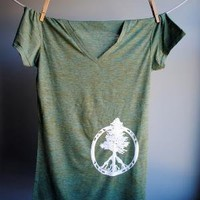 Evergreen Peace Tree of Life TShirt V Neck Heather by WrenWillow