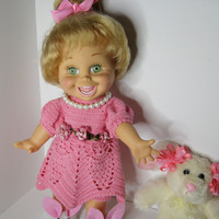 Galoob Baby Face Doll Clothes or My Twin Cuddley Sisters  Handmade crochet Pink Summer Dress or Easter Dress bunny slippers outfit only