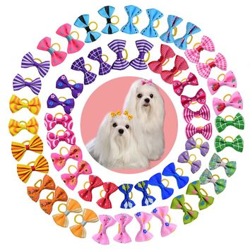 20/50/100pcs Dog Grooming Bows Pet Cat Hair Bows Rubber Bands Cat