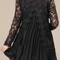 Black Floral Lace Long Sleeve Pleated Dress
