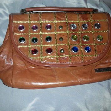 Vintage 80s Genuine Leather Patchwork Handbag by Daniel Hugo