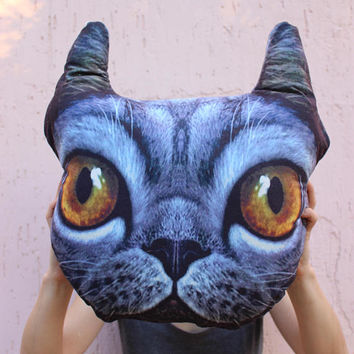 Cat Cushion Cat Pillow Gray Cat Decor 3d Pillow Christmas Gift for Cat Lovers Handmade Ready to Ship EXPRESS SHiPPiNG Via UPS