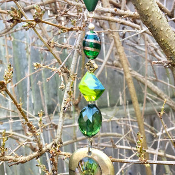 Green Gold Sun Catcher, Repurposed Bead Ornament, St. Patrick's Day Decor, Recycled Jewelry Art, Window Charm, Rear Mirror Charm, Garden Art