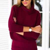 Red Turtle-Neck Sleeve Knitted Sweater