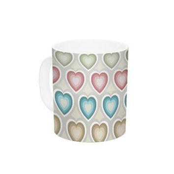 "Kess InHouse Julia Grifol ""My Hearts"" Ceramic Coffee Mug, 11 oz, Multicolor"