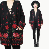 Black Rose Cardigan Slouchy Floral Cardigan Vintage 1980s Wool Cardigan Rose Floral Print Sweater Black Red Winter Knit Jumper (M/L)