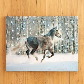 """Lighted LED """"Winter Horse"""" Scene Christmas Wall Canvas"""