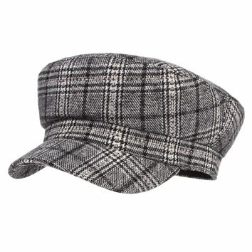 Women Plaid Wool Hat Fashion Artist Painter Octagonal Cap Autumn Winter Warm Beret Hat Newsboy Caps Casquette