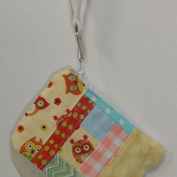 Owl Themed Patchwork Zip Pouch - OOAK