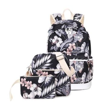 3pcs/Set Backpack Women Floral Printing Backpack Canvas Bookbags School Backpacks Bags for Teenage girls Bagpack Backbag