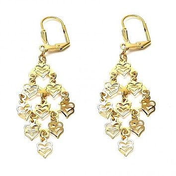 Gold Layered 02.63.2197 Chandelier Earring, Heart Design, Polished Finish, Gold Tone