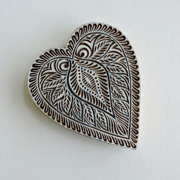 Huge Valentine Heart Stamp: Hand Carved Indian Printing Block, Flower Stamp, Wood Block Stamp, Wooden Craft Pottery or Textile Stamp, India