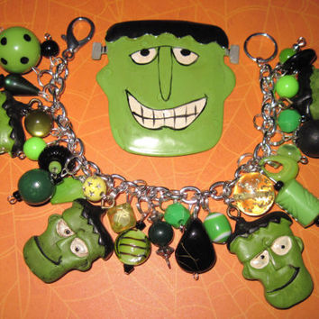 Frankenstein Charm Bracelet Halloween Jewelry Beads OOAK Vintage Style Statement Piece Psychobilly Horror Green Zombie Monster