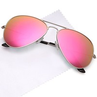 Premium Classic Aviator UV400 Sunglasses w Flash Mirror Lenses - Choose From Adult or Kids Sizes