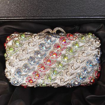 Silver Rhinestone  Minaudiere Wedding Clutch