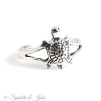 Sterling Silver Oxidized Turtle Toe Ring