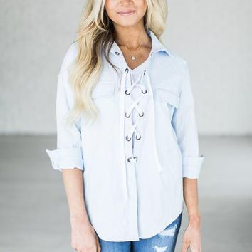 Lace Up Chambray Shirt