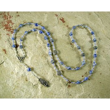 Blodeuwedd Prayer Bead Necklace in Blue Spot Agate: Welsh Celtic Goddess of Spring, Maid of Flowers