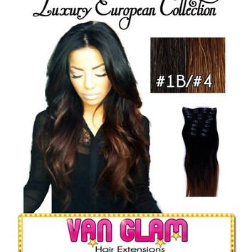 NEW Balayage, Ombre, European Hair, Clip In Extensions, Natural Black, Chocolate Brown