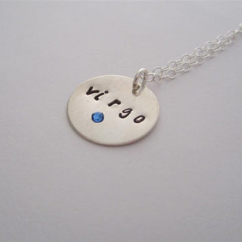 VIRGO necklace, Sterling Silver Hand Stamped Zodiac August September Necklace, Personalized
