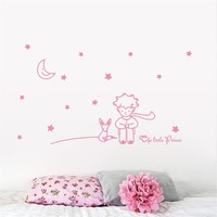 cute romantic Little Prince With Fox Moon Star home decor wall sticker for kids baby room Christmas gift for boy girl ZY8518
