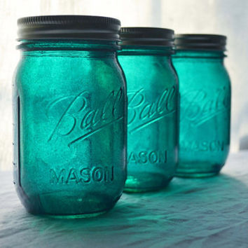 Stained Mason Jars in Deep Teal, Set of 3
