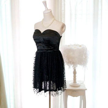 MOTHERS DAY SALE Sweetheart Elegance Cocktail Party Prom Black Heart Tulle Satin Pleated Dress Tutu