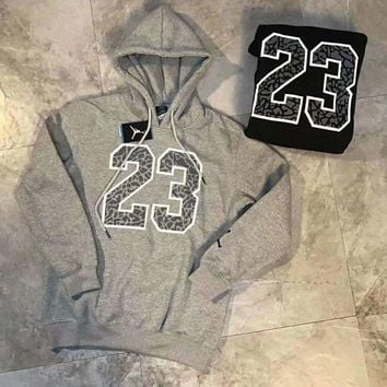 DCCKB62 Jordan Men Fashion Long Sleeve Hooded Pullover Sweater Sweatshirt Grey G-A-BM-YSHY