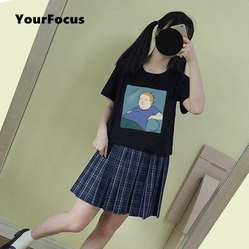 2018 summer harajuku kawaii cute style American anime cartoon King of the Hill Bobby print t shirt cotton black women tops