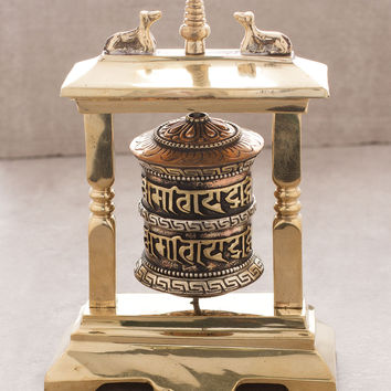 Templed Copper and Brass Prayer Wheel