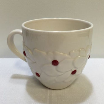 Original Starbucks 2004 White Floral Red Interior Coffee Mug Cup 12 Oz Ceramic