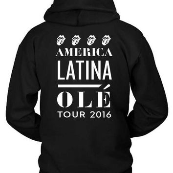 ESBH9S The Rolling Stones America Latina Ole Tour Hoodie Two Sided