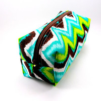 Aqua and Lime Green ZigZag Chevron  Makeup Bag, Zipper, washable, travel, on the go, pencil case, on the go, under 15,  sqaure