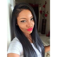 """Sunwell Virgin Human Hair Light Yaki Straight Lace Front Wig for Black Women 10""""-24"""" (14, Natural Color)"""