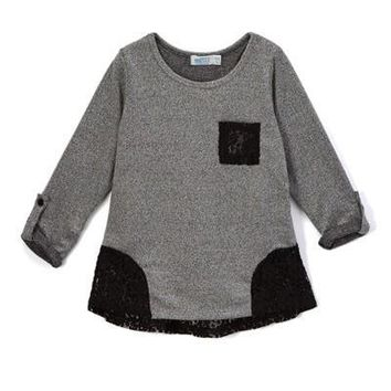 Girls Long sleeve sweater with lace detail and lace pocket, Black