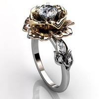 14k three tone white, rose and yellow gold diamond unusual floral engagement ring, bridal ring, wedding ring ER-1032-6