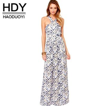 Fashion Women Backless Maxi Dress Sleeveless Off Shoulder Female Dress Sweet Style Print Ladies Fit And Flare Dress
